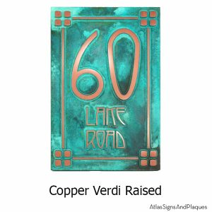 2 Number Craftsman Address Numbers - Copper Verdi