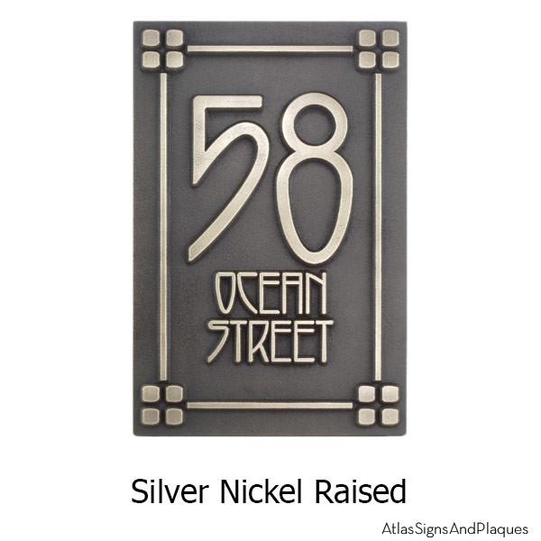2 Number Craftsman Address Numbers - Silver Nickel