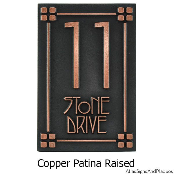 2 Number Craftsman Address Numbers - Copper