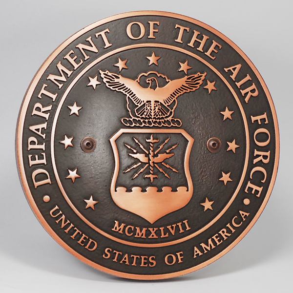 US Air Force Plaque - Copper