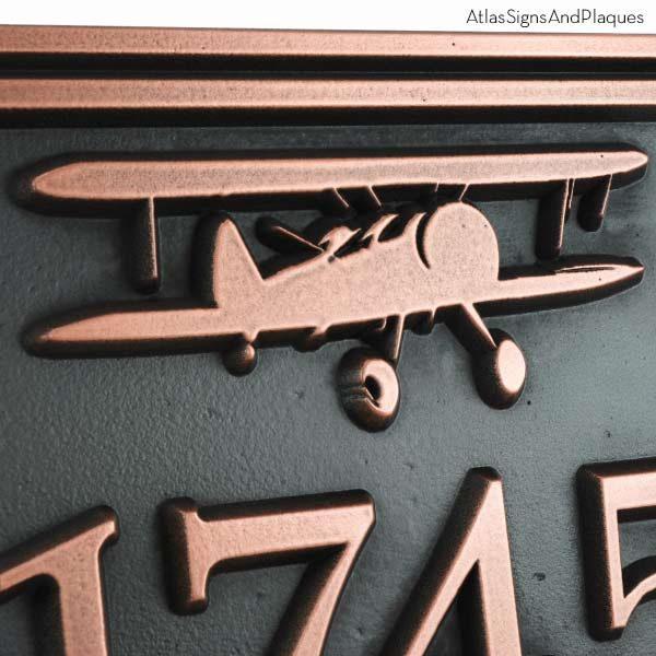 Airpark Airplane Plaque - Copper Detail