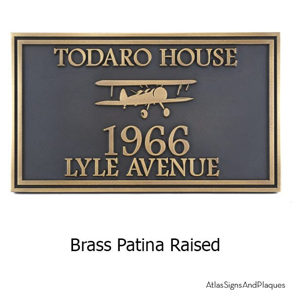 Airpark Airplane Plaque - Brass