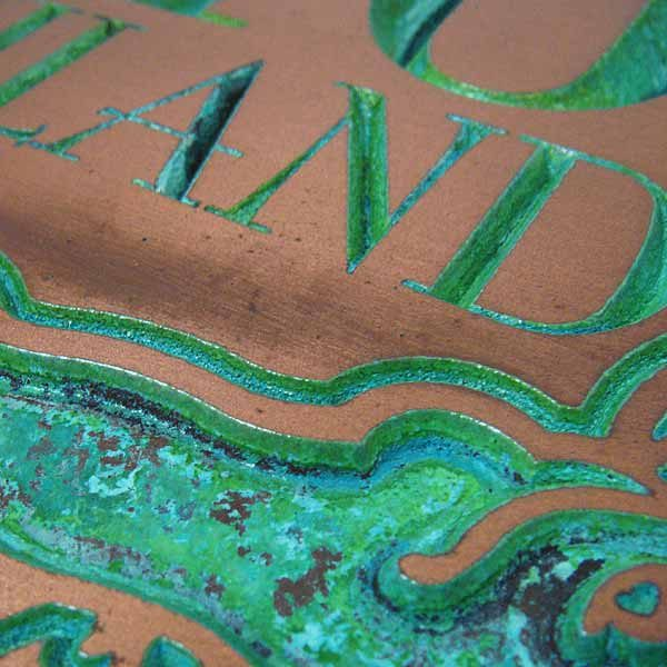 Alligator Address Plaque - Copper Verdi Detail