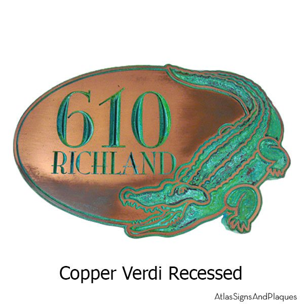 Alligator Address Plaque - Copper Verdi