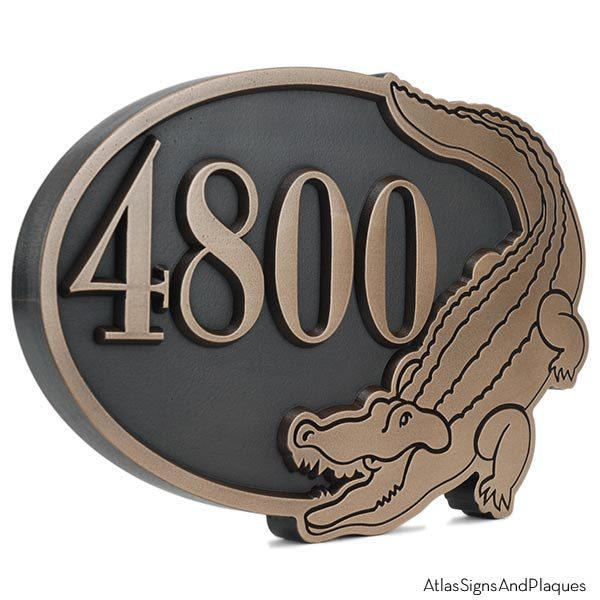 Alligator Address Plaque - Bronze