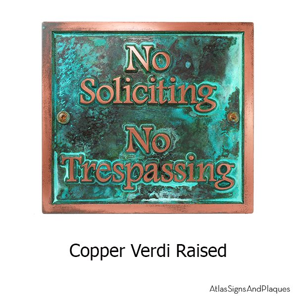 Almost Square No Soliciting - Copper Verdi