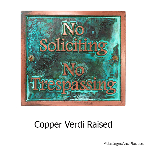 Almost Square No Soliciting - Copper Verdi