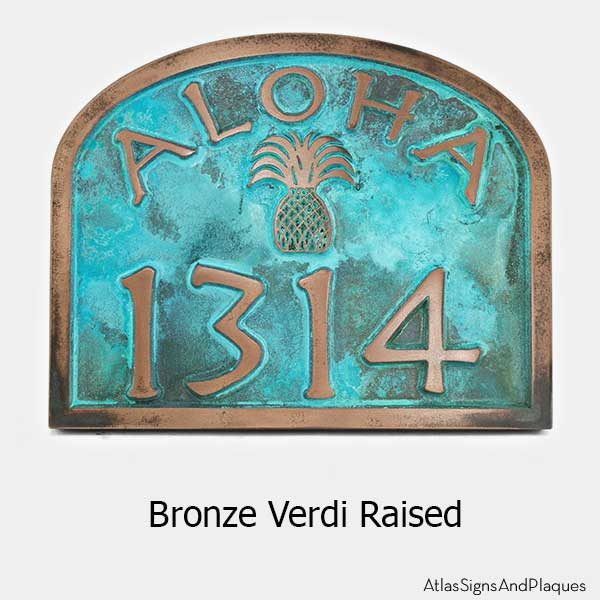Aloha Address Plaque - Bronze Verdi