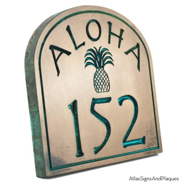 Aloha Address Plaque - Bronze Verdi Recessed