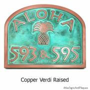 Aloha Address Plaque - Copper Verdi