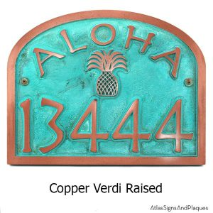 Aloha Address Plaque - Copper Verdi