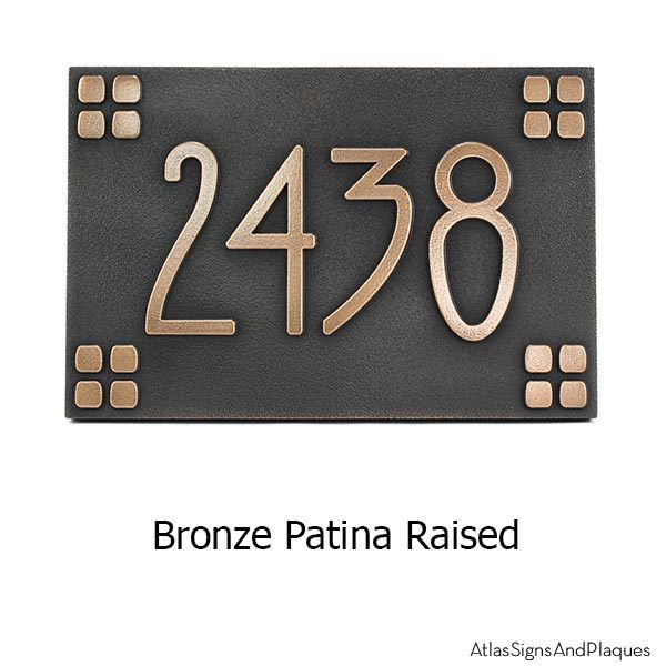 American Craftsman Address Plaque - Bronze