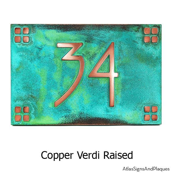 American Craftsman Address Plaque - Copper Verdi