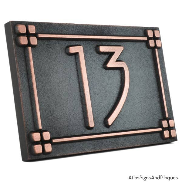 American Craftsman Address Plaque - Copper