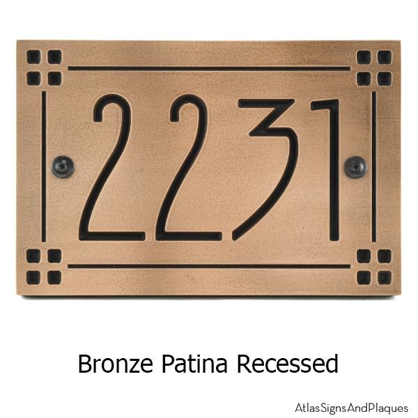 American Craftsman Address Plaque - Bronze Recessed
