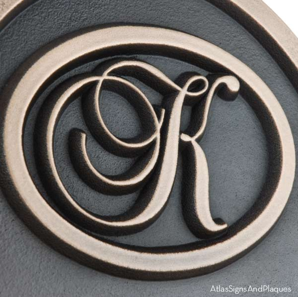 Arch Monogram Wedding Plaque - Bronze Detail