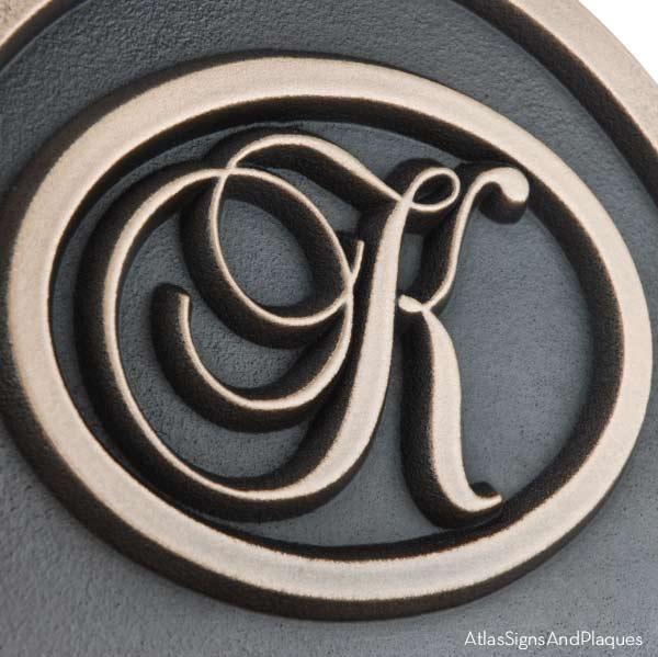 Arch Monogram Wedding Plaque - Bronze Detail