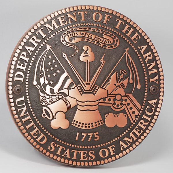 US Army Plaque - Copper