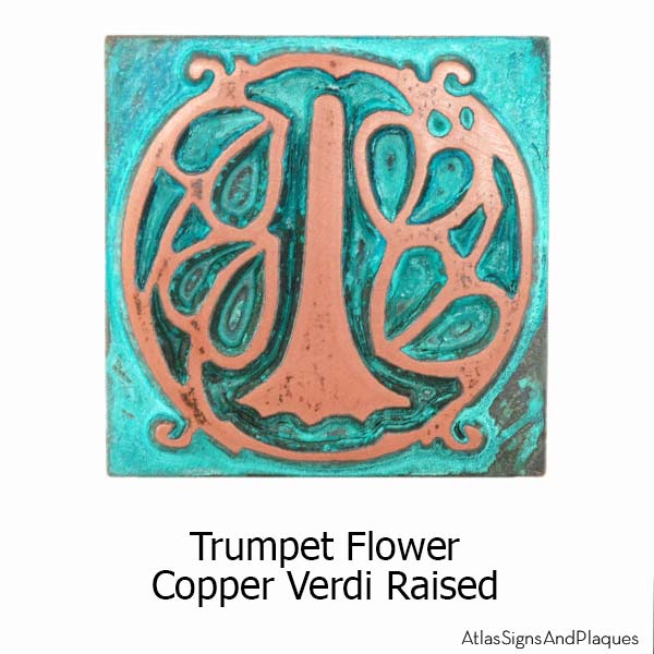 Arts and Crafts Tiles - Trumpet Flower - Copper Verdi