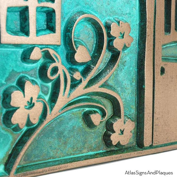 Artsy Shack Plaque - Bronze Verdi Detail