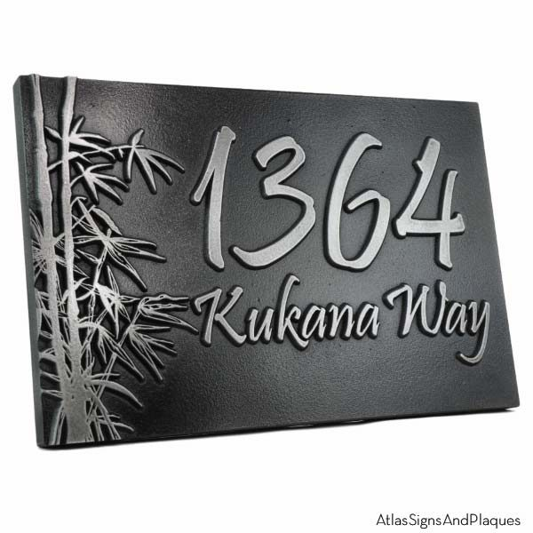 Bamboo Address Plaque - Pewter