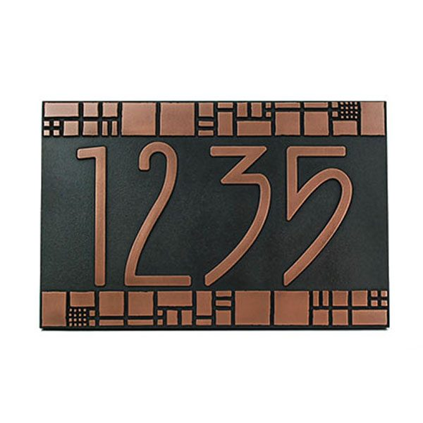 The Batchelder Tile Address Plaque - Copper