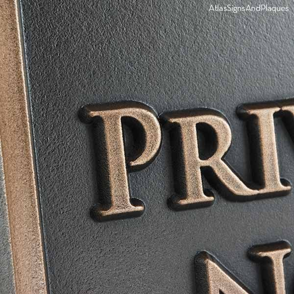Beveled Edge Private Drive Security Sign - Bronze Detail