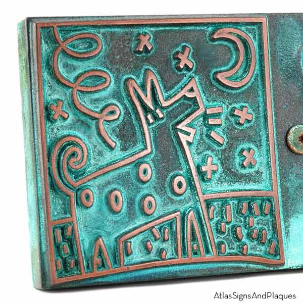 Beware of Bowser Sign - Copper Verdi Detail