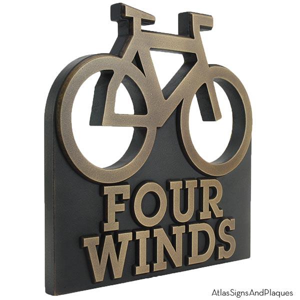 Bike Address Plaque - Bronze