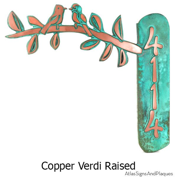Birds on a Branch Address Plaque - Copper Verdi