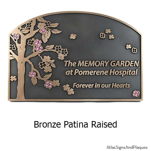 Blossom Tree Plaque - Bronze with Painted Flowers