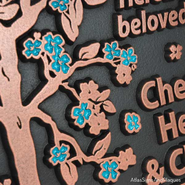 Blossom Tree Plaque - Copper with Painted Flowers
