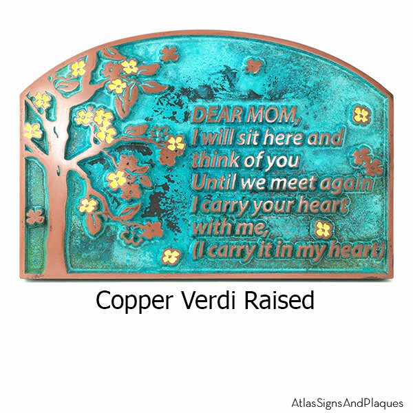Blossom Tree Plaque - Copper Verdi with Painted Flowers