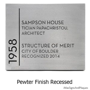 Building Recognition Plaque - Pewter