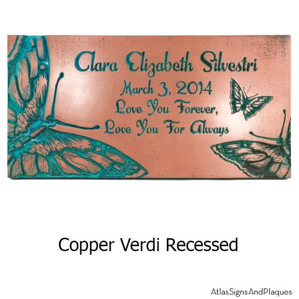 Butterfly Memorial Plaque - Copper Verdi