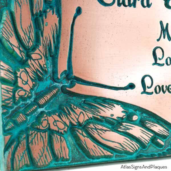 Butterfly Memorial Plaque - Copper Verdi Detail