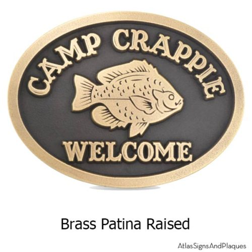 Camp Crappie Plaque - Brass Shown with Crappie