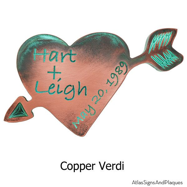 Carved Heart Plaque - Copper Verdi