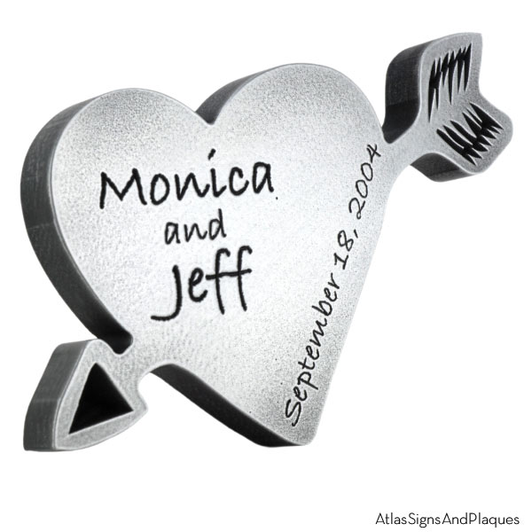 Carved Heart Plaque - Pewter