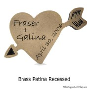 Carved Heart Plaque - Brass