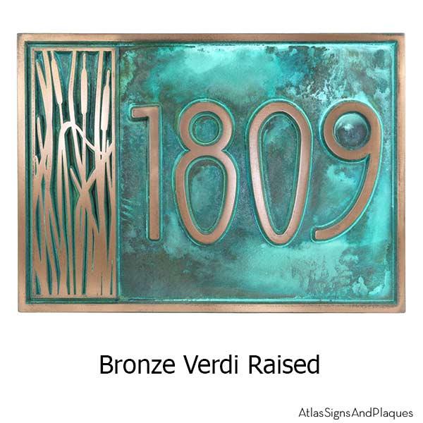 Cattail Craftsman House Numbers - Bronze Verdi