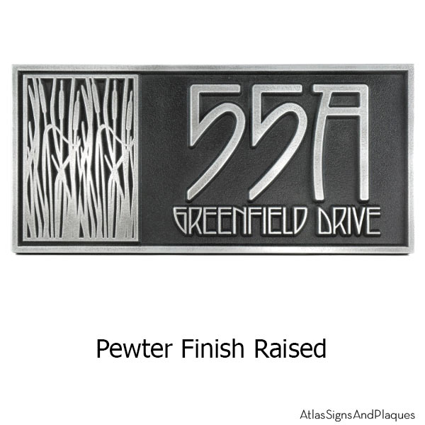 Cattail Craftsman House Numbers - Pewter