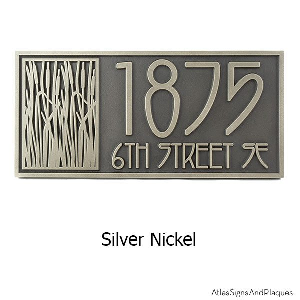 Cattail Craftsman House Numbers - Silver Nickel