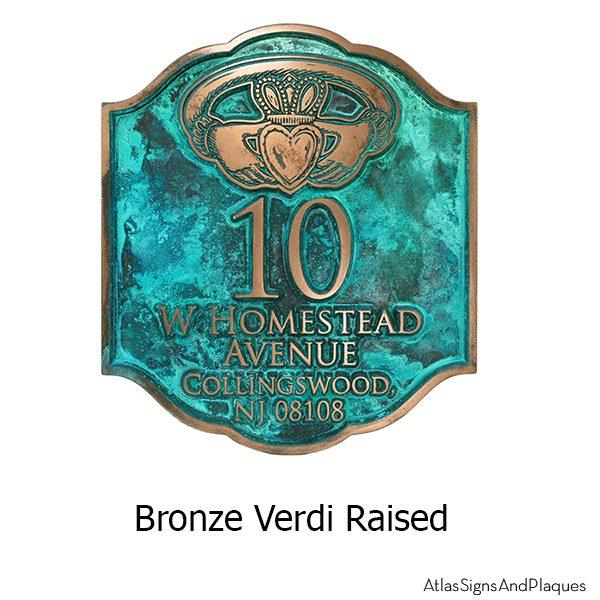 Celtic Claddagh Ring Plaque - Bronze Verdi