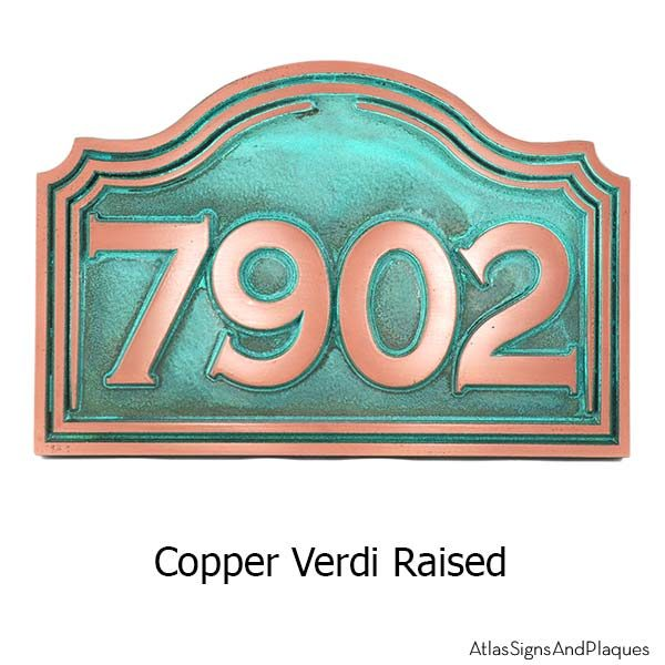 Classic Arch Address Plaque - Copper Verdi