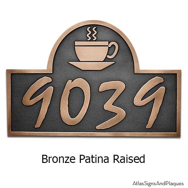 Arch Coffee Cup Address Plaque - Bronze