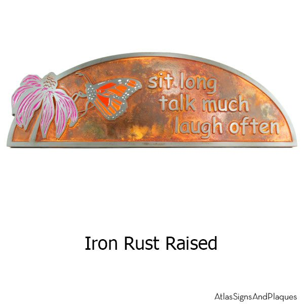 Coneflower and Monarch Plaque - Iron Rust with Painted Details