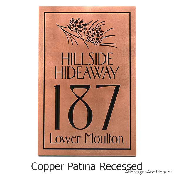 Conifer Cone Address Plaque - Copper