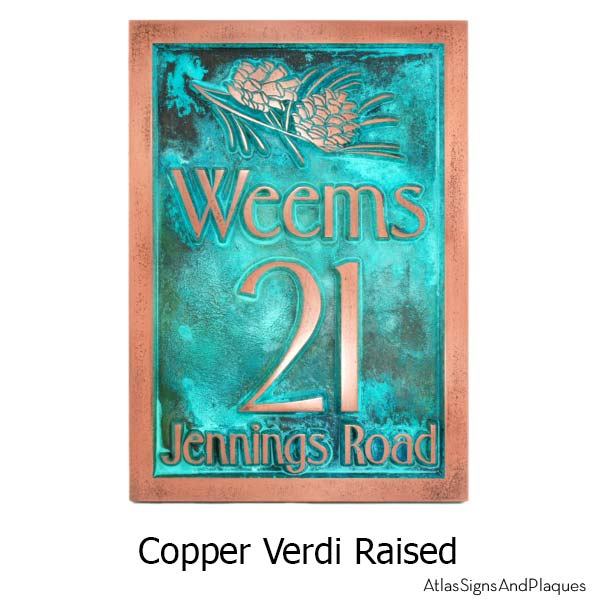 Conifer Cone Address Plaque - Copper Verdi