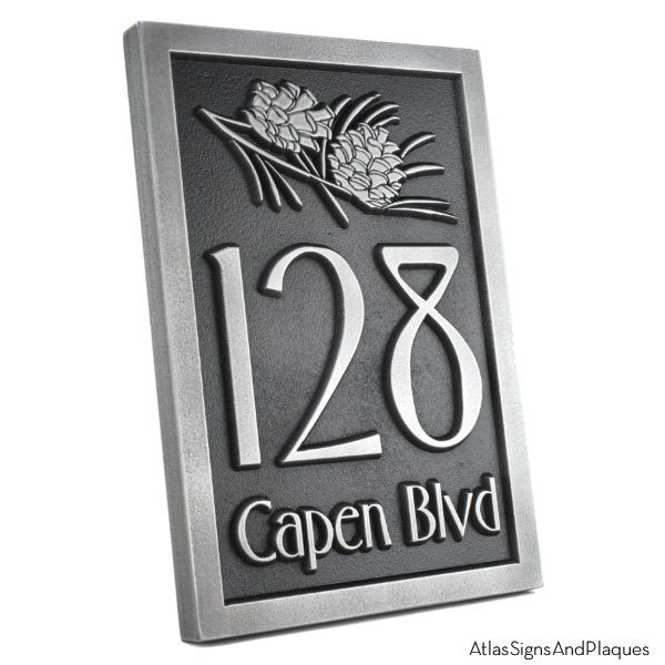 Conifer Cone Address Plaque - Pewter
